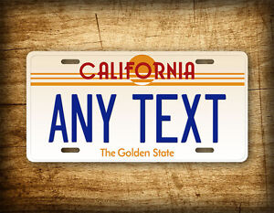 Vintage California Custom License Plate 1980s Retro Any Text Personalized Tag
