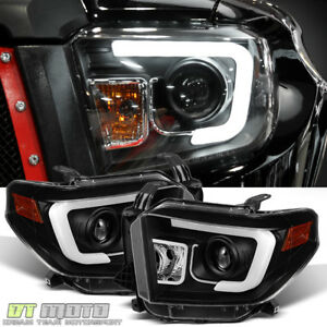2014 2017 Toyota Tundra Led Drl Black Projector Headlamps Left Right 14 15 16 17