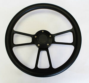 New Nova Chevelle Monte Carlo Steering Wheel Black On Black 14 Very Nice