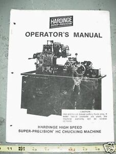 Hardinge High Speed Super Precision Hc Chucking Manual