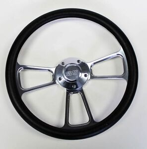 Black Billet Steering Wheel 14 Ss Center Cap Fits Ididit Flaming River Column