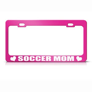 Metal License Plate Frame Soccer Mom Car Accessories Hot Pink