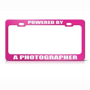 Metal License Plate Frame Powered By A Photographer Car Accessories Hot Pink