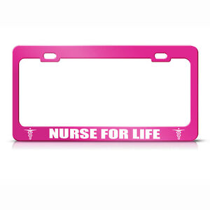 Metal License Plate Frame Nurse For Life Car Accessories Hot Pink