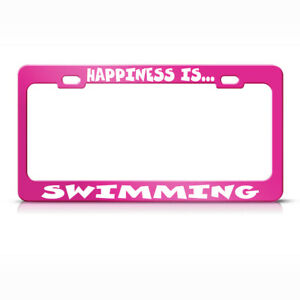 Metal License Plate Frame Happiness Is Swimming Car Accessories Hot Pink