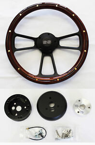 1968 Chevrolet Camaro Mahogany Wood On Black Steering Wheel 14 Ss Center Cap