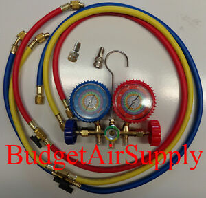 Ez Read 410a r22 404a 134a Manifold Gauges 48 W Shutoffs mini Split Adapters