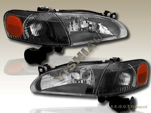 1998 2000 Toyota Corolla Black Headlights Corner 4pcs 98 99 00