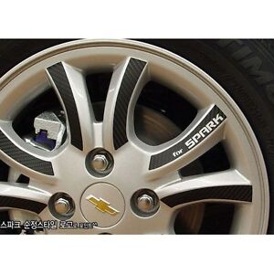 Carbon Tuning Wheel Mask Decal Sticker Full Set 14 For Gm Chevrolet Spark 2013