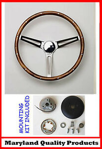 New 1960 73 Vw Volkswagon Grant Wood Steering Wheel Chrome Ss Walnut 15