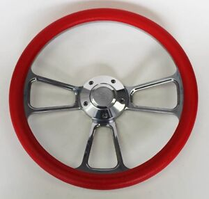 Steering Wheel Red And Billet 14 Bowtie Cap Fits Ididit Flaming River Column