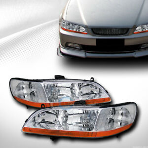 Oe Style Chrome Housing Head Lights Signal Lamps Amber Dy 1998 2002 Honda Accord