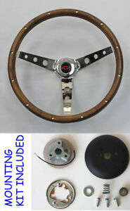 Chevy Ii Nova Impala Grant Wood Steering Wheel Red Black Center 13 1 2 Walnut