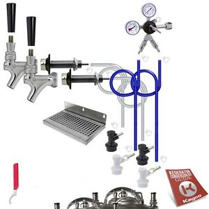 Two Tap Homebrew Kegerator Conversion Kit Door Mount Ball Lock Draft Beer Kegco