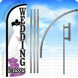 Wedding Dresses Windless Swooper Flag 15 Kit Feather Banner Sign Wz