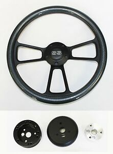 1968 Chevrolet Camaro Carbon Fiber On Black Steering Wheel 14 Ss Center Cap