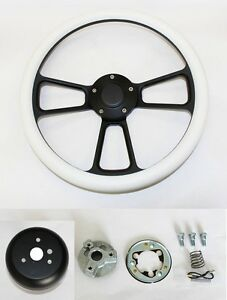 1965 1969 Ford Mustang Steering Wheel White Grip Black Spokes Shallow Dish 14
