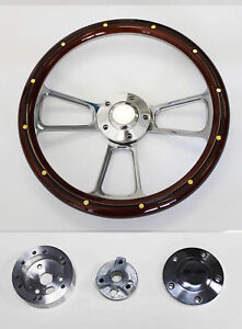 1968 1972 Chrysler Mahogany Wood With Rivets Grip And Billet Steering Wheel 14