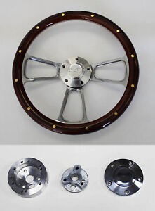 Chevelle El Camino Steering Wheel Mahogany W rivets Billet 14 Ss Center Cap