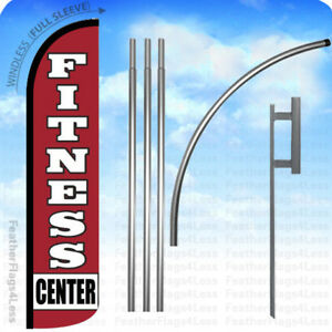 Fitness Center Windless Swooper Flag 15 Kit Feather Banner Sign Rz