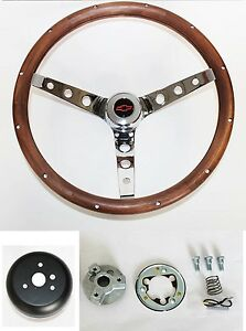 Grant Steering Wheel Wood 15 Chrome Walnut Red Black Cap Fits Ididit Column