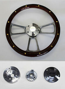 1957 1968 Impala Bel Air Mahogany W rivets Billet Steering Wheel 14 Bowtie Cap