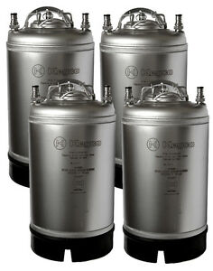 New Set Of 4 Kegco Home Brew Ball Lock Pepsi Cornelius Beer Kegs W Strap Handle