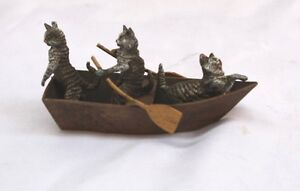 Magnificent 1900 Austrian Bronze Cats On Boat Signed Kk