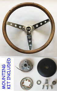 Grant Steering Wheel Real Wood Fits Ididit Flaming River Column 13 1 2 Ss Cap