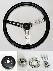 1965 69 Fairlane Ranchero Galaxie 500 Black Steering Wheel 15 Grant Round Holes