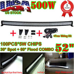 52inch 500w Cree Led Combo Curved Light Bar Offroad 4x4wd Suv Atv Jeep Wiring
