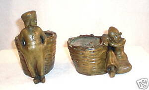 Magnificent Pair Of 19c French Bronze Boy Girl Planters Candy Dishes