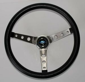 Grant Black Steering Wheel With Ford Center Cap Fits Ididit Column 15 Ss Spokes