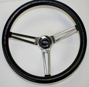 60 61 62 Ford Falcon Grant Black Steering Wheel 15 Stainless Steel Spokes