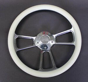 Monte Carlo Nova Chevelle Steering Wheel White Billet Grip 14 Ss Center Cap
