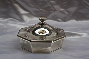 Magnificent Japanese Sterling Silver Crystal Cover Dish By K Uyeda