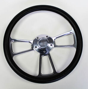 Chevelle Nova Camaro Impala 14 Steering Wheel Black Billet Ss Center Cap