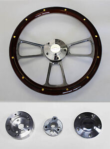 Nova Chevelle Mahogany Steering Wheel With Rivets Billet 14 Chevy Bowtie Cap
