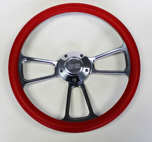New 1968 Chevrolet Camaro Red And Billet Steering Wheel 14 Ss Center Cap
