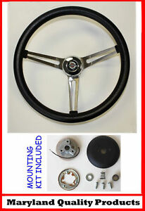 New 1968 1972 Chrysler Grant Black Steering Wheel 15 Stainless Steel