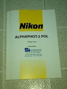 Oem Nikon Alphaphot 2 Pol Polarizing Microscope Instructions Manual 1996