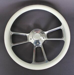 60 69 Chevy Pick Up Truck Steering Wheel White And Billet 14 Bowtie Center Cap