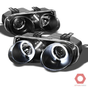 Fits 98 01 Acura Integra Dual Halo Blk Projector Headlights Lamps Pair Replmt