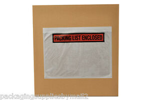7 5 X 5 5 Packing List Enclosed Panel Face Slip Holders Envelopes 6000 Pouches