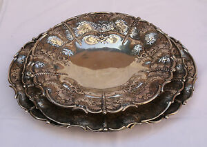 Magnificent 3p 800 German Silver Large Platters Trays Center Pieces