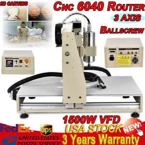 3 Axis 6040 Cnc Router Water Cooled Engraving Drilling Milling Machine 1500w Vfd
