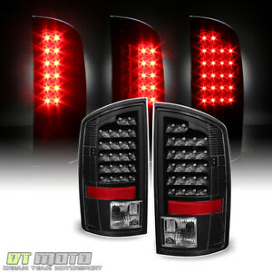 Blk 2002 2006 Dodge Ram 1500 2500 3500 Led Tail Lights Rear Brake Lamps Pair Set