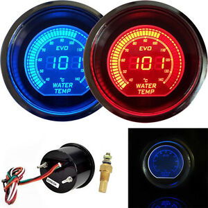 2 52mm Digital Led Evo Water Temperature Gauge Meter Red Blue Universal