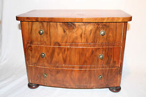 Small Childrens Walnut Biedermeier Dresser Chest Of Drawers Drawes Model 19th