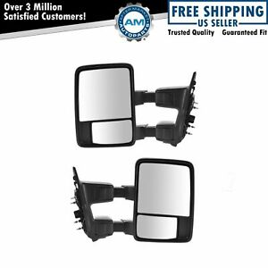 Towing Upgrade Mirror Manual Power Fold Textured Chrome Pair For Super Duty